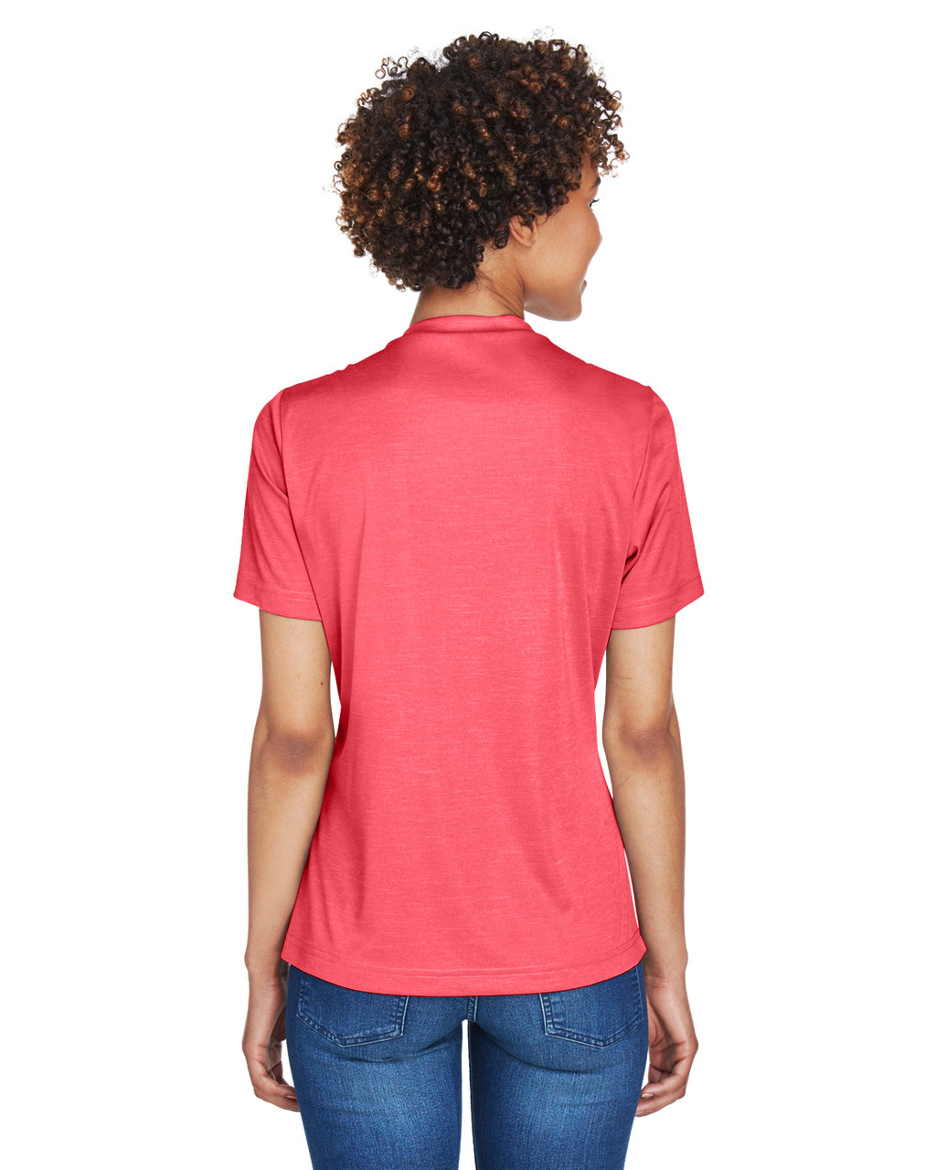 Sport Red Heather - Back, TT11HW Team 365 Ladies' Sonic Heather Performance T-Shirt | BlankClothing.ca