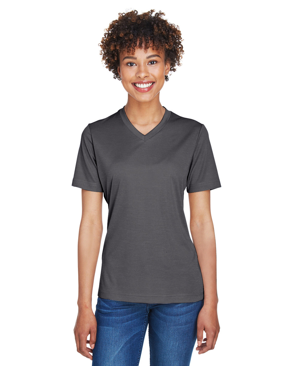 Dark Grey Heather - TT11HW Team 365 Ladies' Sonic Heather Performance T-Shirt | BlankClothing.ca