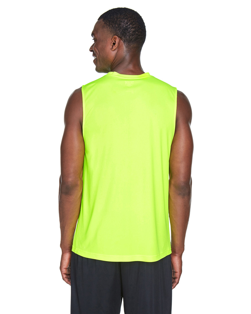 Safety Yellow - Back, TT11M Team 365 Men's Performance Muscle T-Shirt | BlankClothing.ca