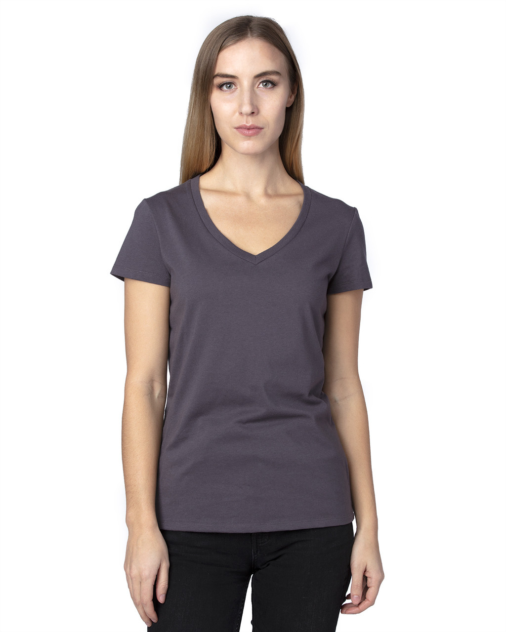 Graphite - 200RV Threadfast Ladies' Ultimate Short-Sleeve V-Neck T-Shirt | BlankClothing.ca