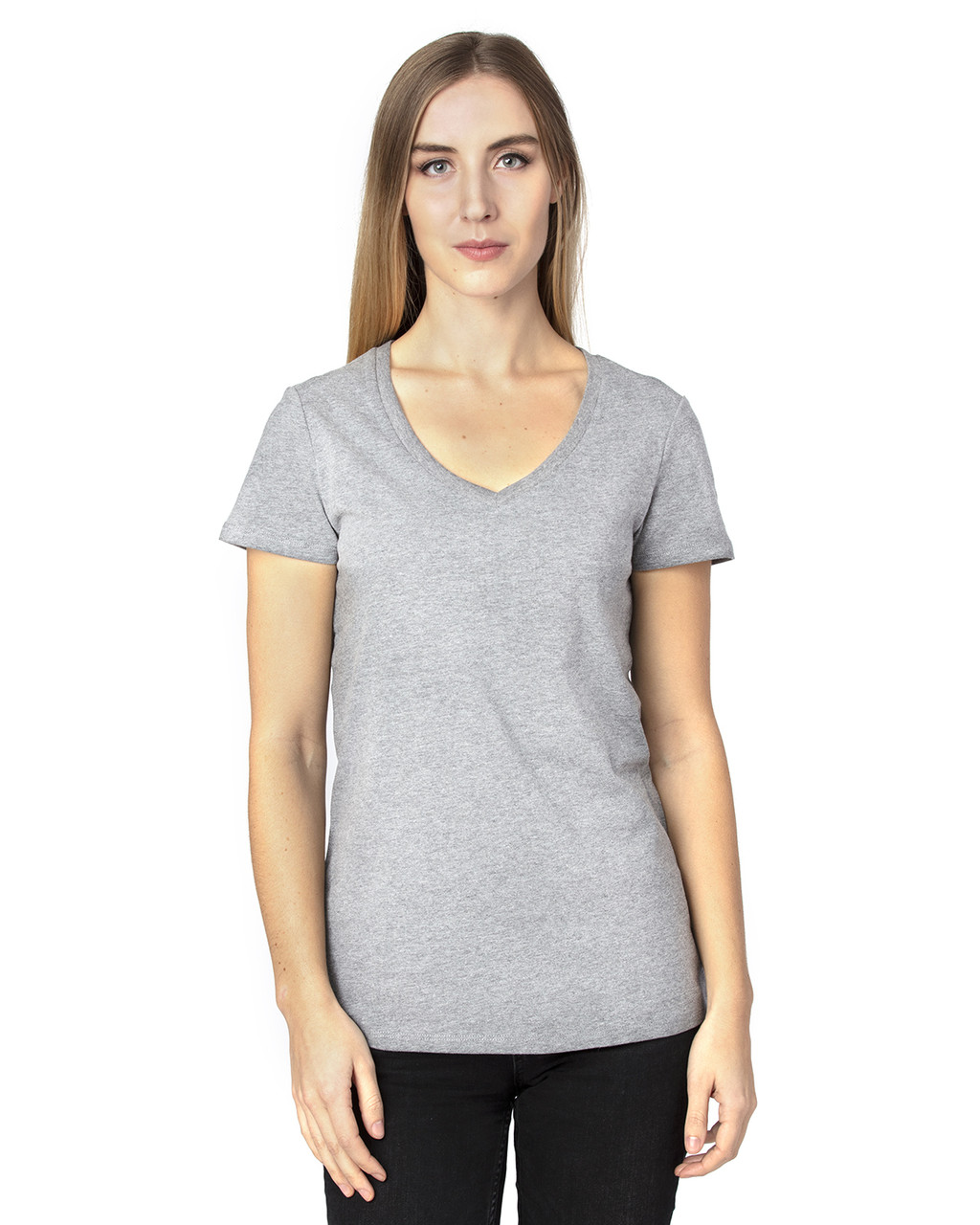 Heather Grey - 200RV Threadfast Ladies' Ultimate Short-Sleeve V-Neck T-Shirt | BlankClothing.ca