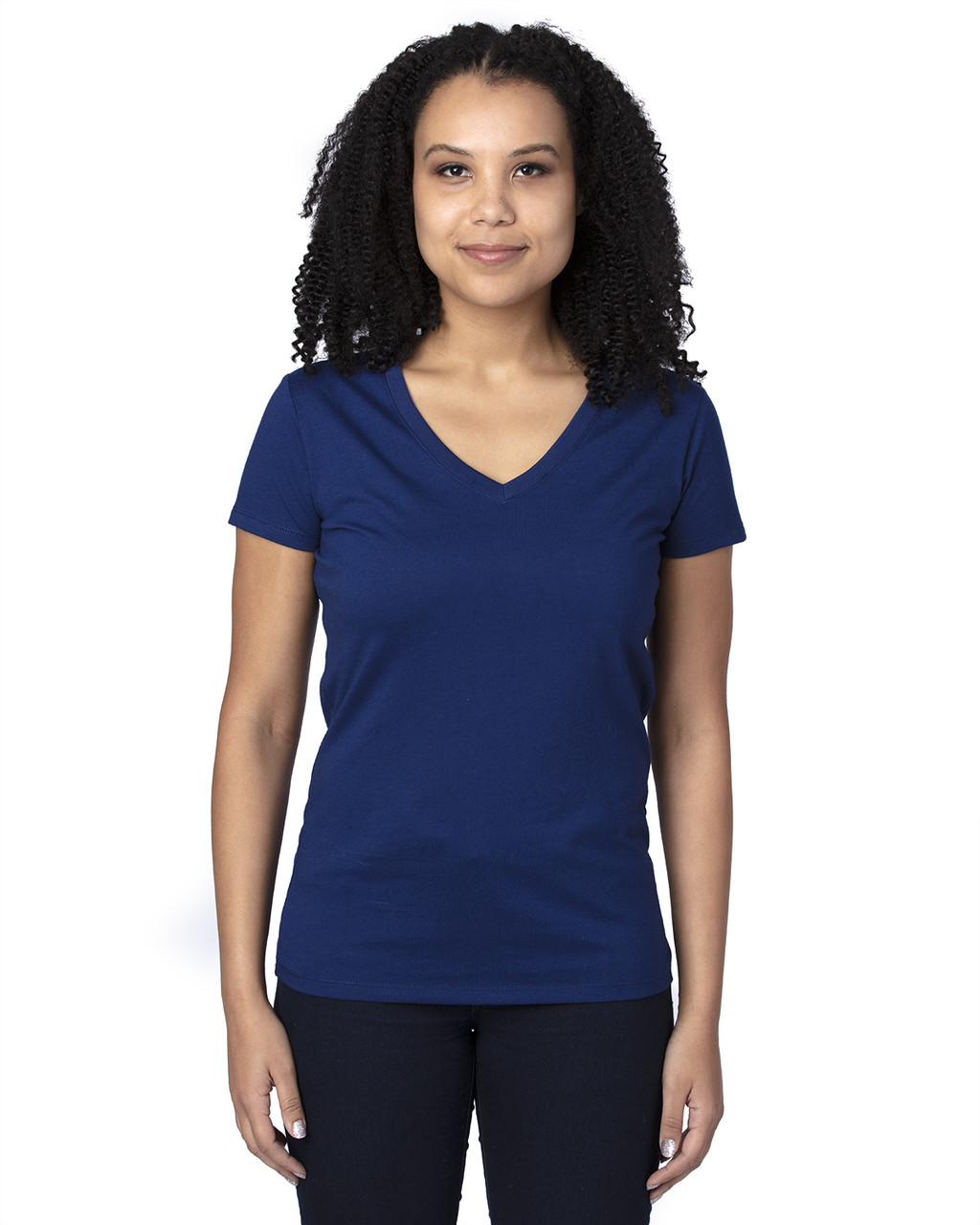 Navy - 200RV Threadfast Ladies' Ultimate Short-Sleeve V-Neck T-Shirt | BlankClothing.ca