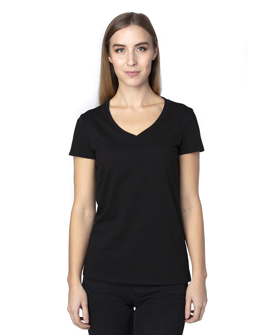 Black - 200RV Threadfast Ladies' Ultimate Short-Sleeve V-Neck T-Shirt | BlankClothing.ca