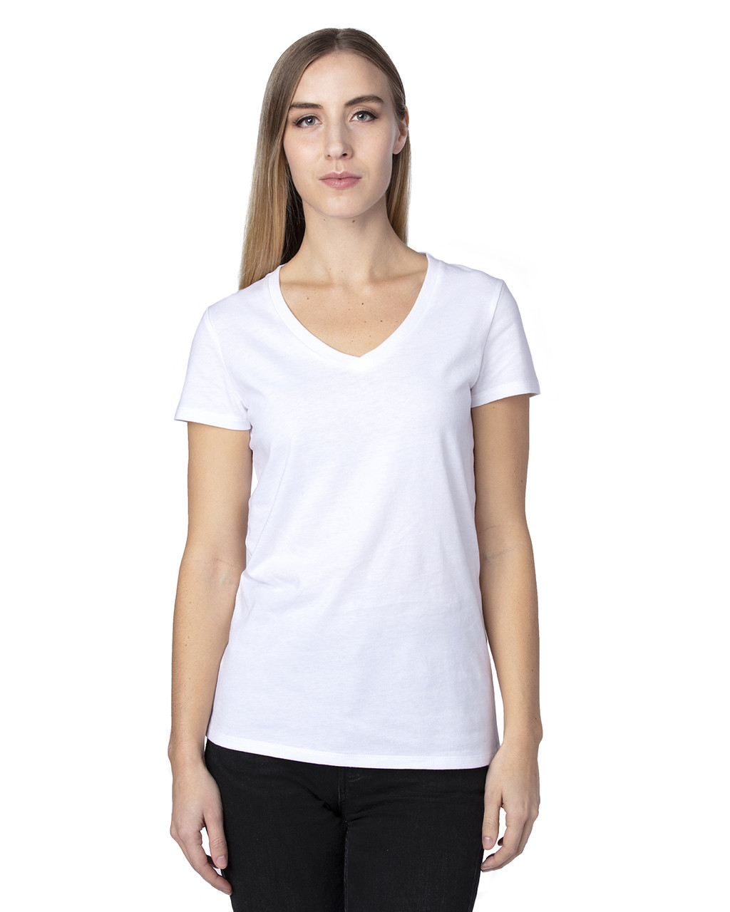White - 200RV Threadfast Ladies' Ultimate Short-Sleeve V-Neck T-Shirt | BlankClothing.ca