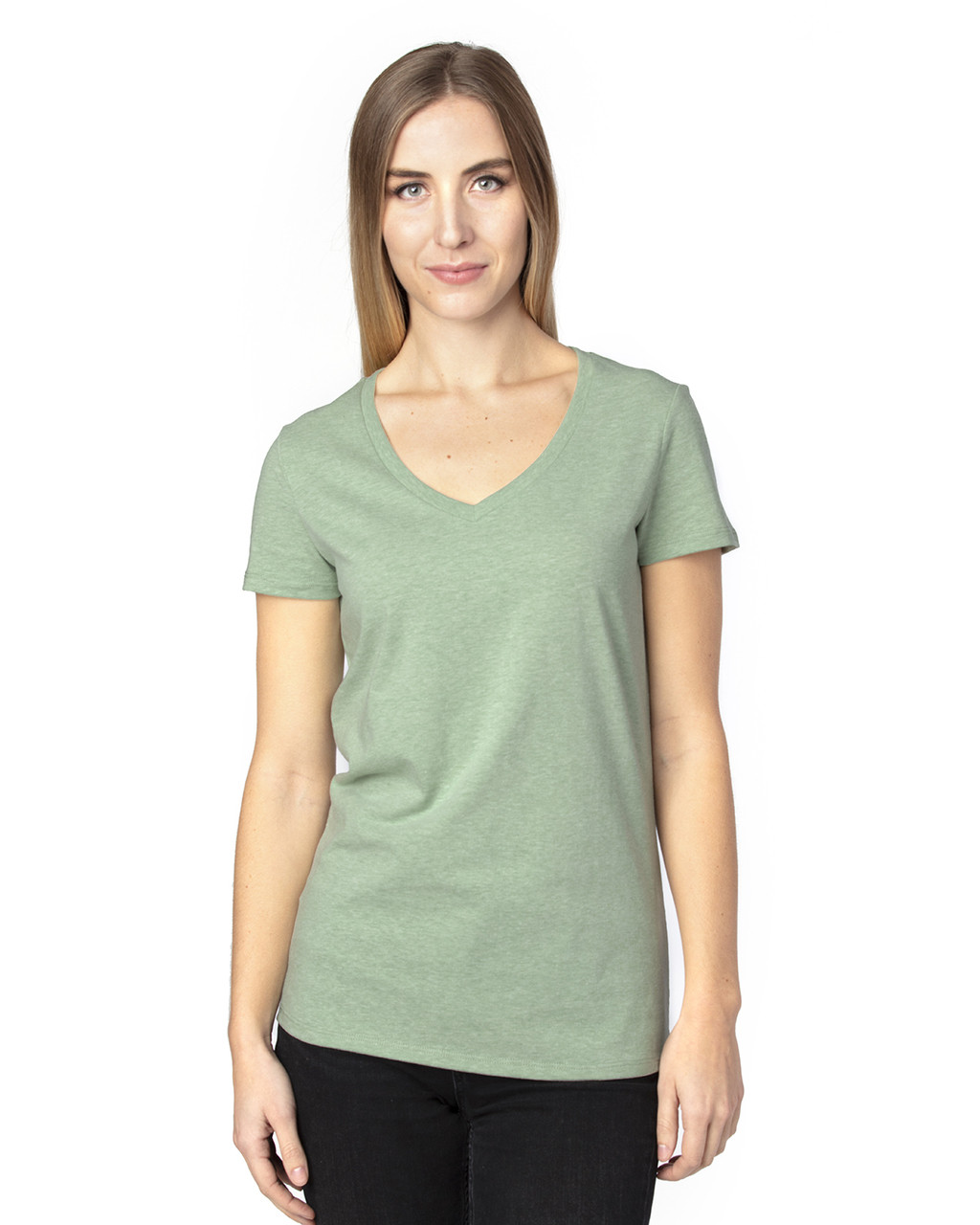 Army Heather - 200RV Threadfast Ladies' Ultimate Short-Sleeve V-Neck T-Shirt | BlankClothing.ca