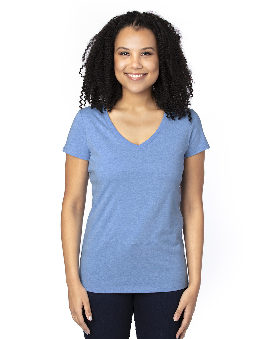 Royal Heather - 200RV Threadfast Ladies' Ultimate Short-Sleeve V-Neck T-Shirt | BlankClothing.ca