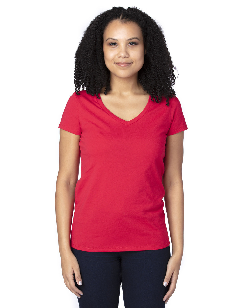Red - 200RV Threadfast Ladies' Ultimate Short-Sleeve V-Neck T-Shirt | BlankClothing.ca