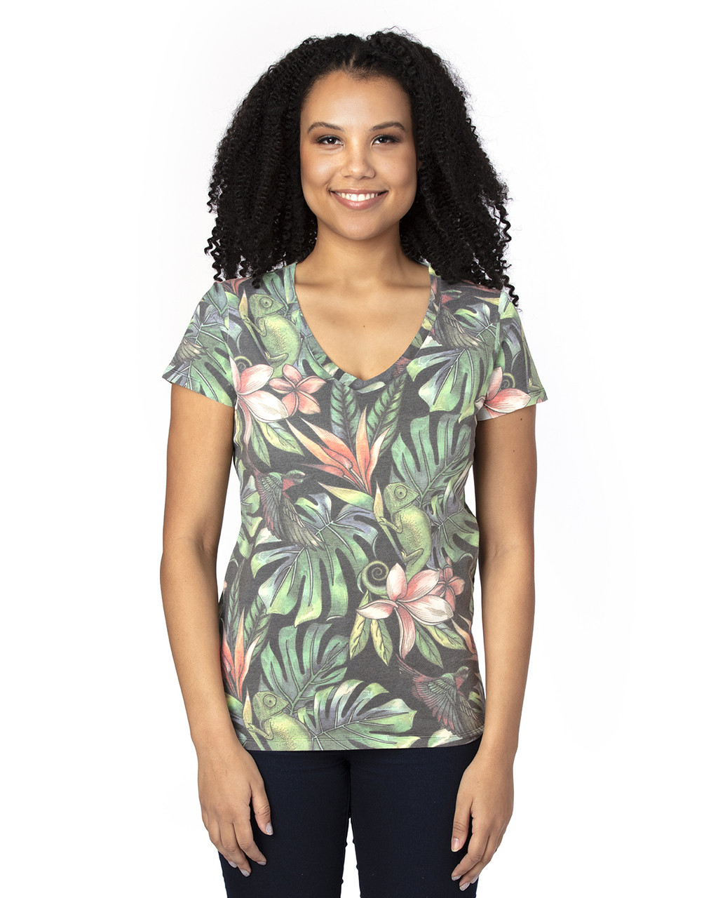 Tropical Jungle - 200RV Threadfast Ladies' Ultimate Short-Sleeve V-Neck T-Shirt | BlankClothing.ca