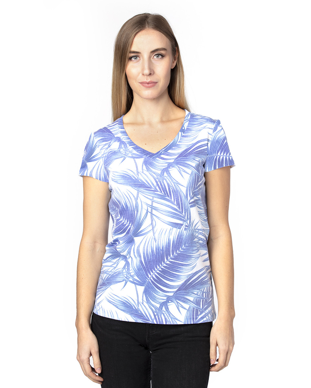Palm Paradise - 200RV Threadfast Ladies' Ultimate Short-Sleeve V-Neck T-Shirt | BlankClothing.ca