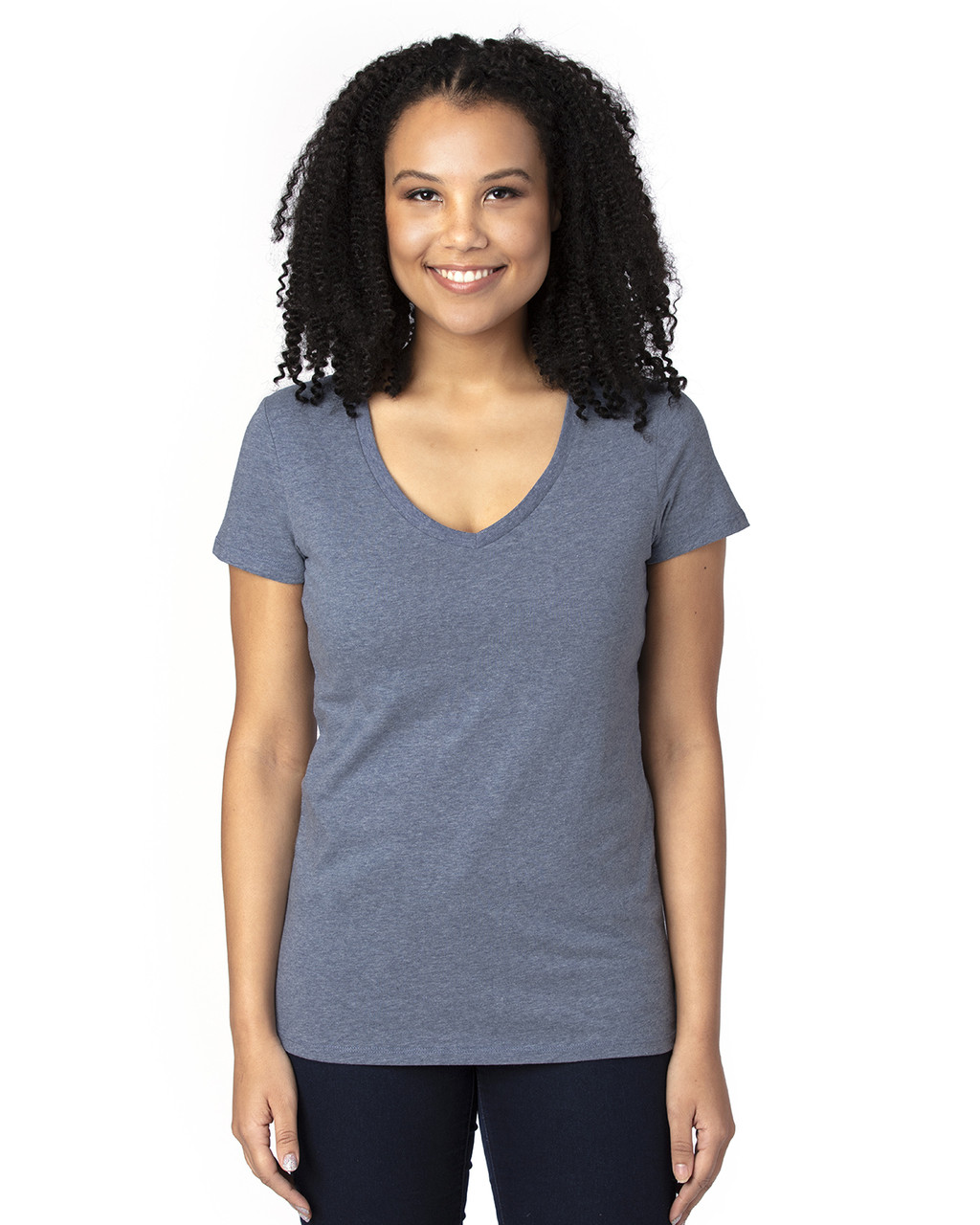 Navy Heather - 200RV Threadfast Ladies' Ultimate Short-Sleeve V-Neck T-Shirt | BlankClothing.ca
