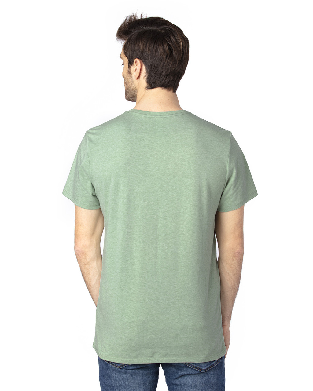 Army Heather - Back, 100A Threadfast Unisex Ultimate Short-Sleeve T-Shirt | BlankClothing.ca