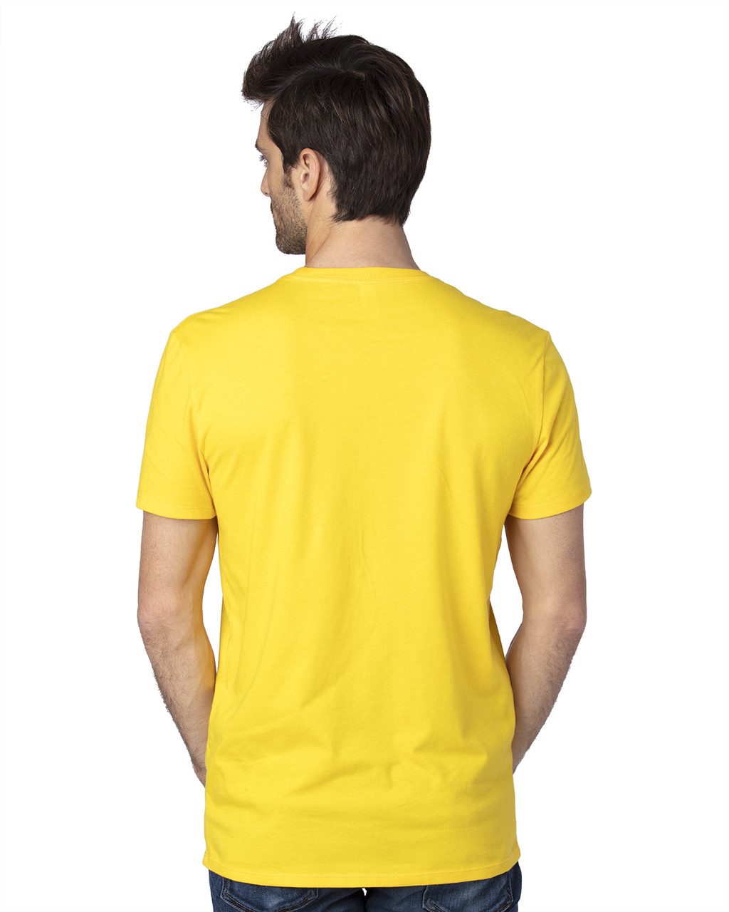 Bright Yellow -Back,  100A Threadfast Unisex Ultimate Short-Sleeve T-Shirt | BlankClothing.ca