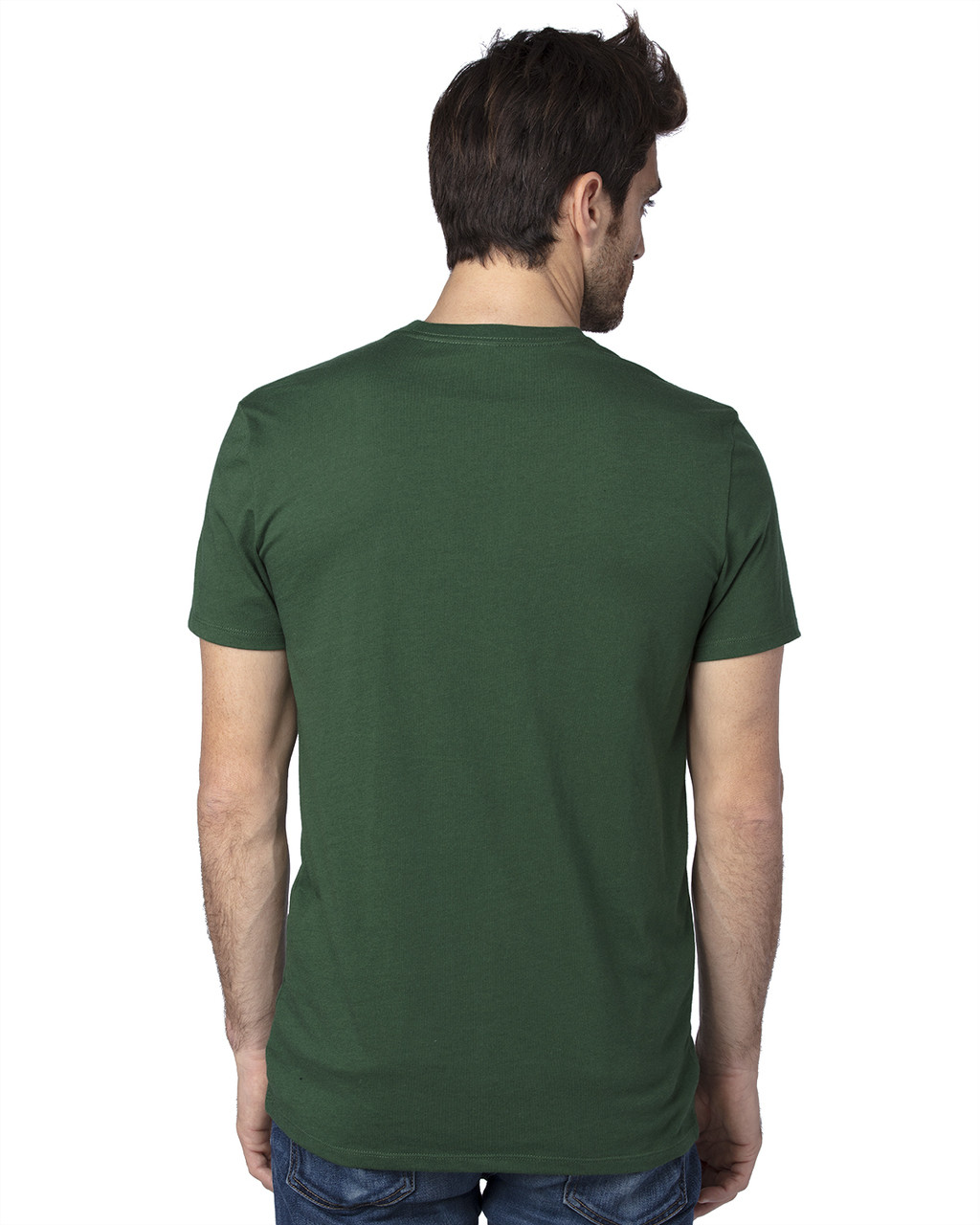 Forest Green - Back, 100A Threadfast Unisex Ultimate Short-Sleeve T-Shirt | BlankClothing.ca
