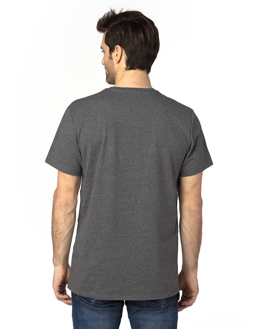 Charcoal Heather - Back, 100A Threadfast Unisex Ultimate Short-Sleeve T-Shirt | BlankClothing.ca