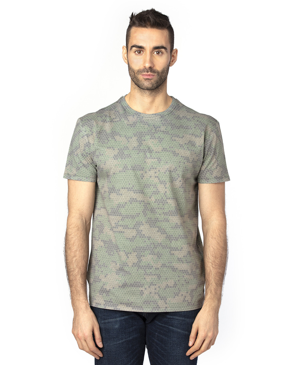 Green Hex Camo - 100A Threadfast Unisex Ultimate Short-Sleeve T-Shirt | BlankClothing.ca