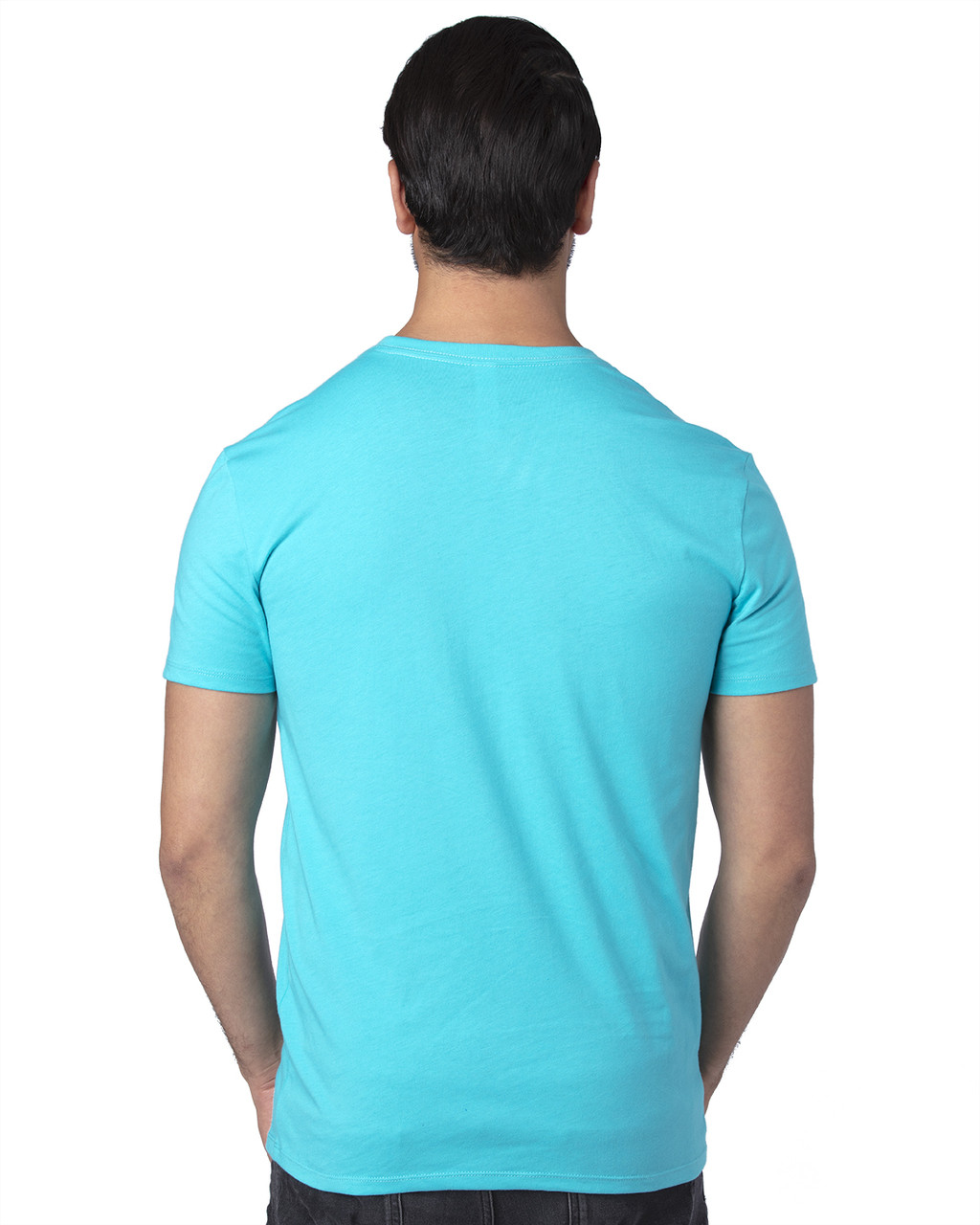 Pacific Blue - Back, 100A Threadfast Unisex Ultimate Short-Sleeve T-Shirt | BlankClothing.ca