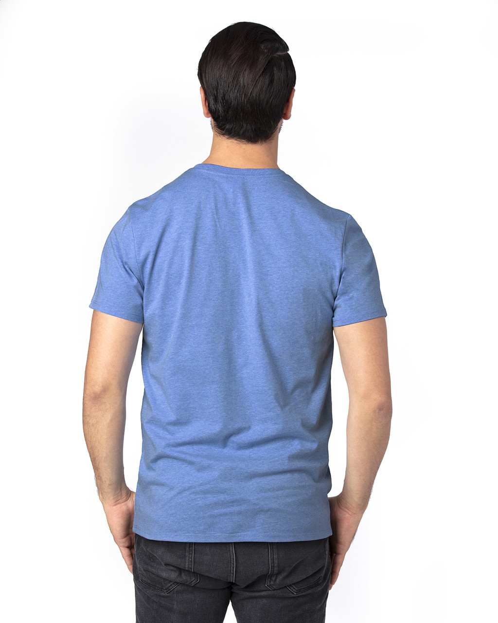 Royal Heather - Back, 100A Threadfast Unisex Ultimate Short-Sleeve T-Shirt | BlankClothing.ca
