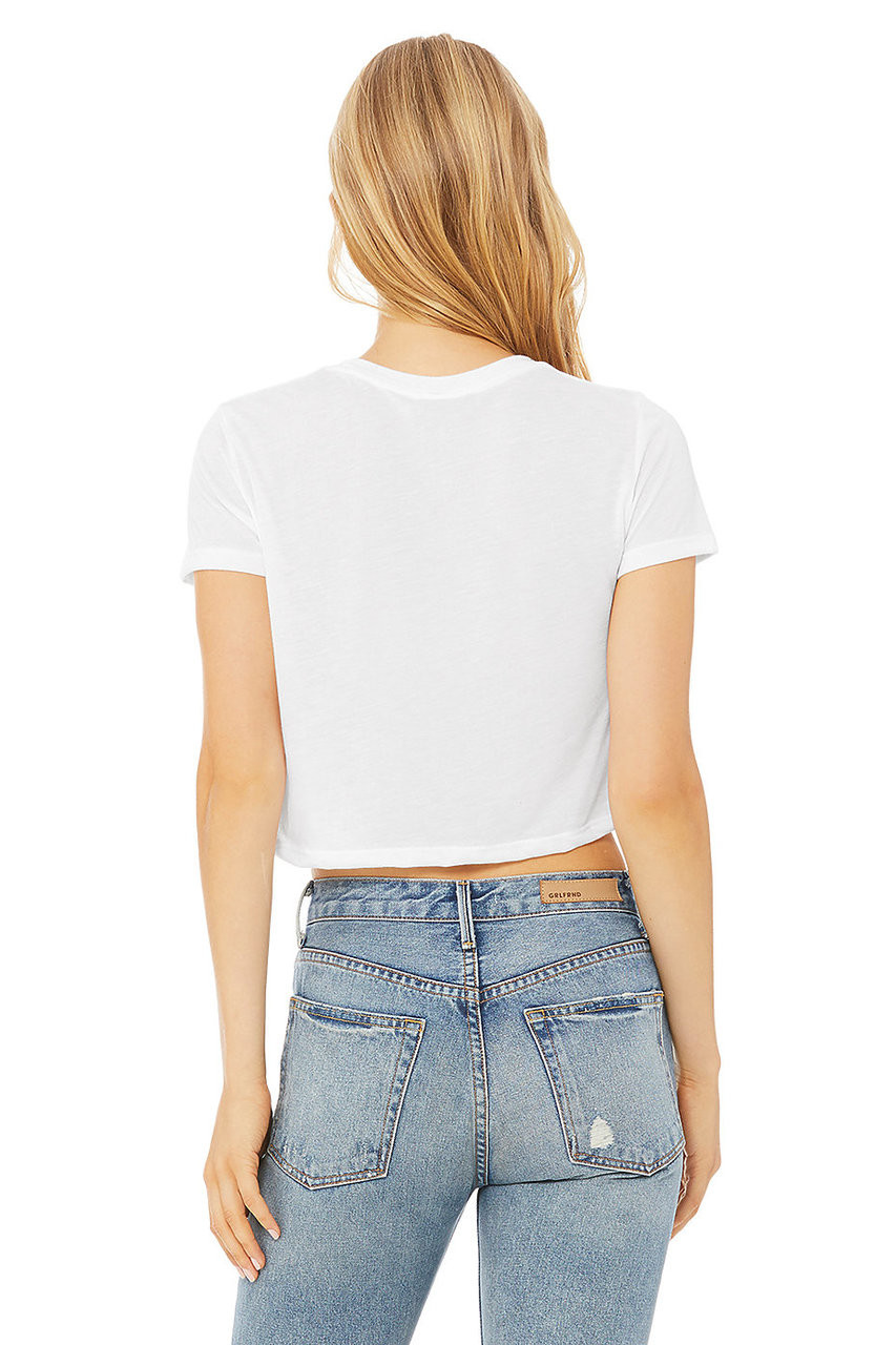 White - B8882 Bella + Canvas Ladies' Flowy Cropped T-Shirt | BlankClothing.ca