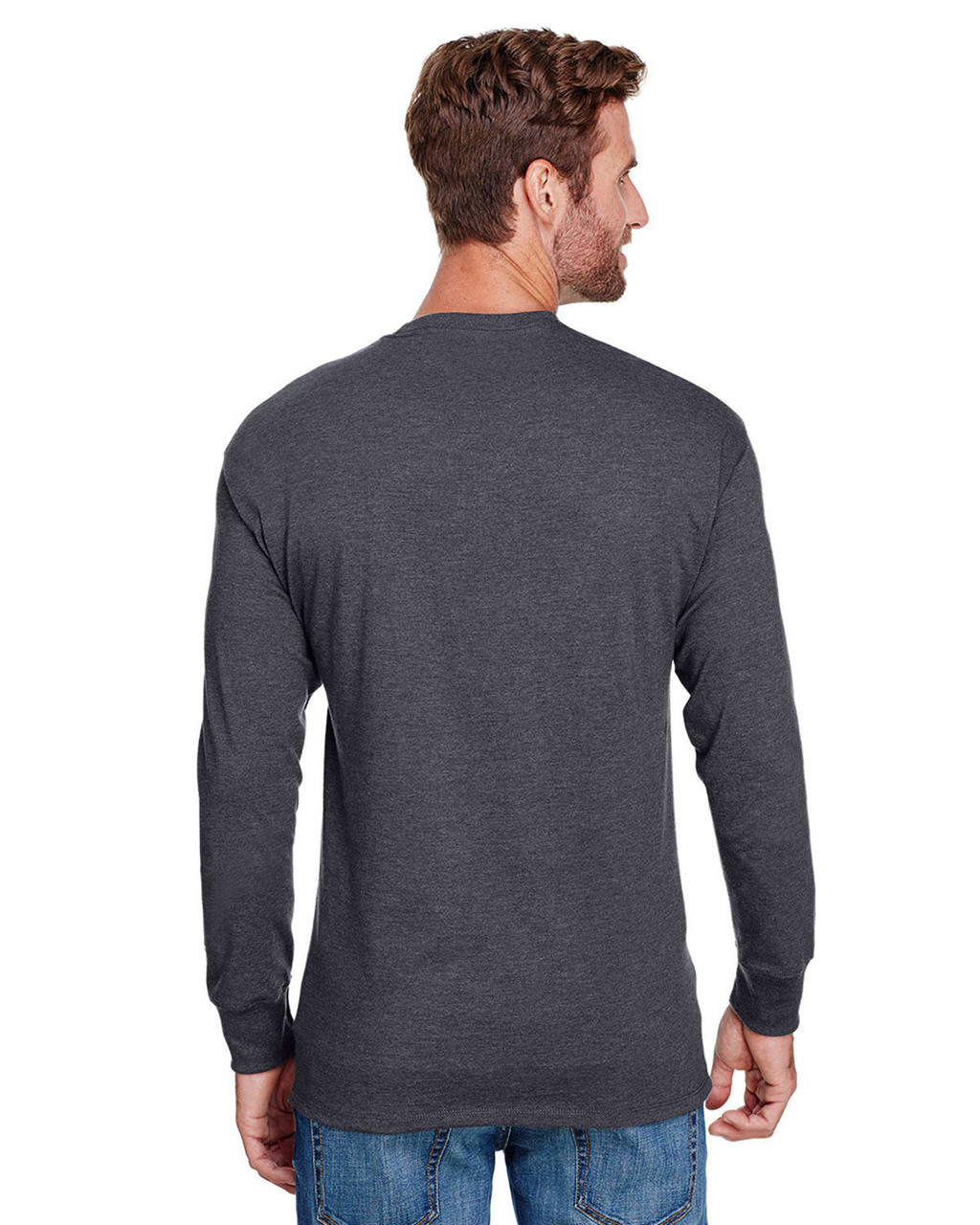 Charcoal Heather - CP15 Champion Adult Long-Sleeve Ringspun T-Shirt | BlankClothing.ca