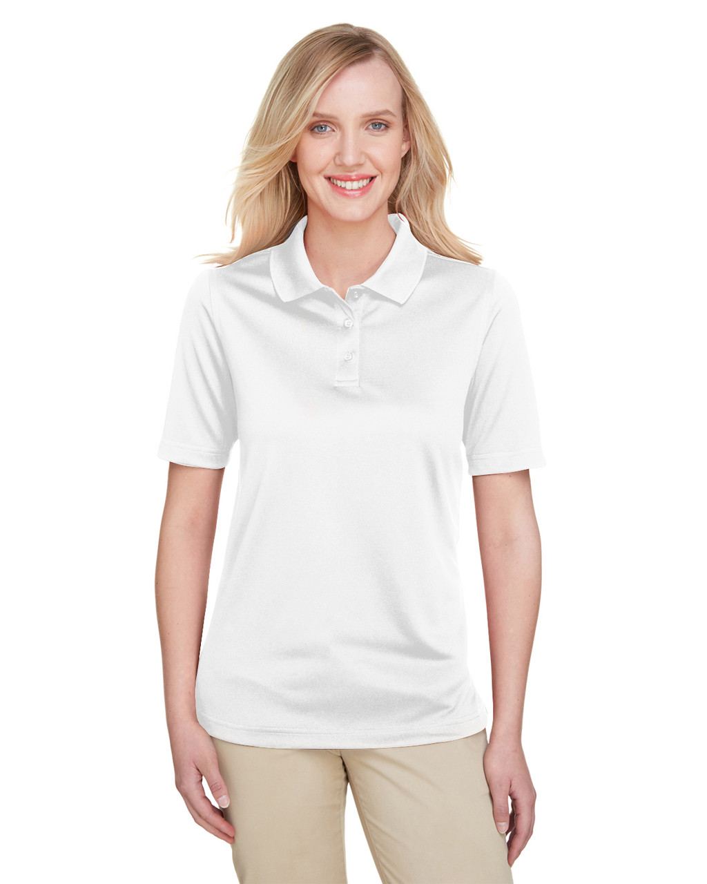 White - M348W Harriton Ladies' Advantage Snag Protection Plus IL Polo Shirt | Blankclothing.ca
