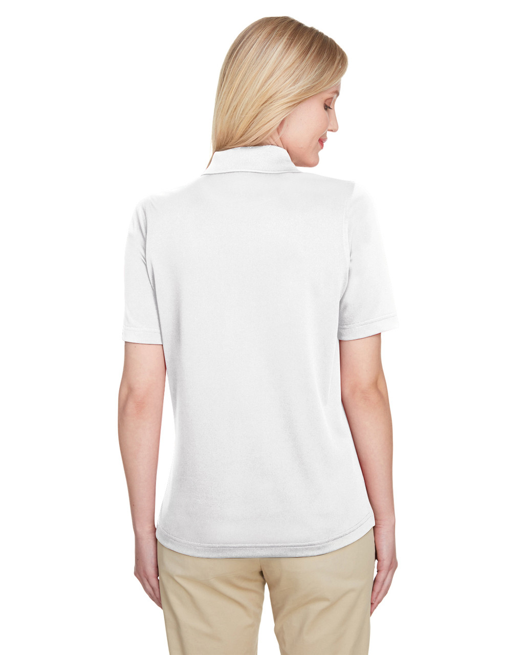 White, Back - M348W Harriton Ladies' Advantage Snag Protection Plus IL Polo Shirt | Blankclothing.ca