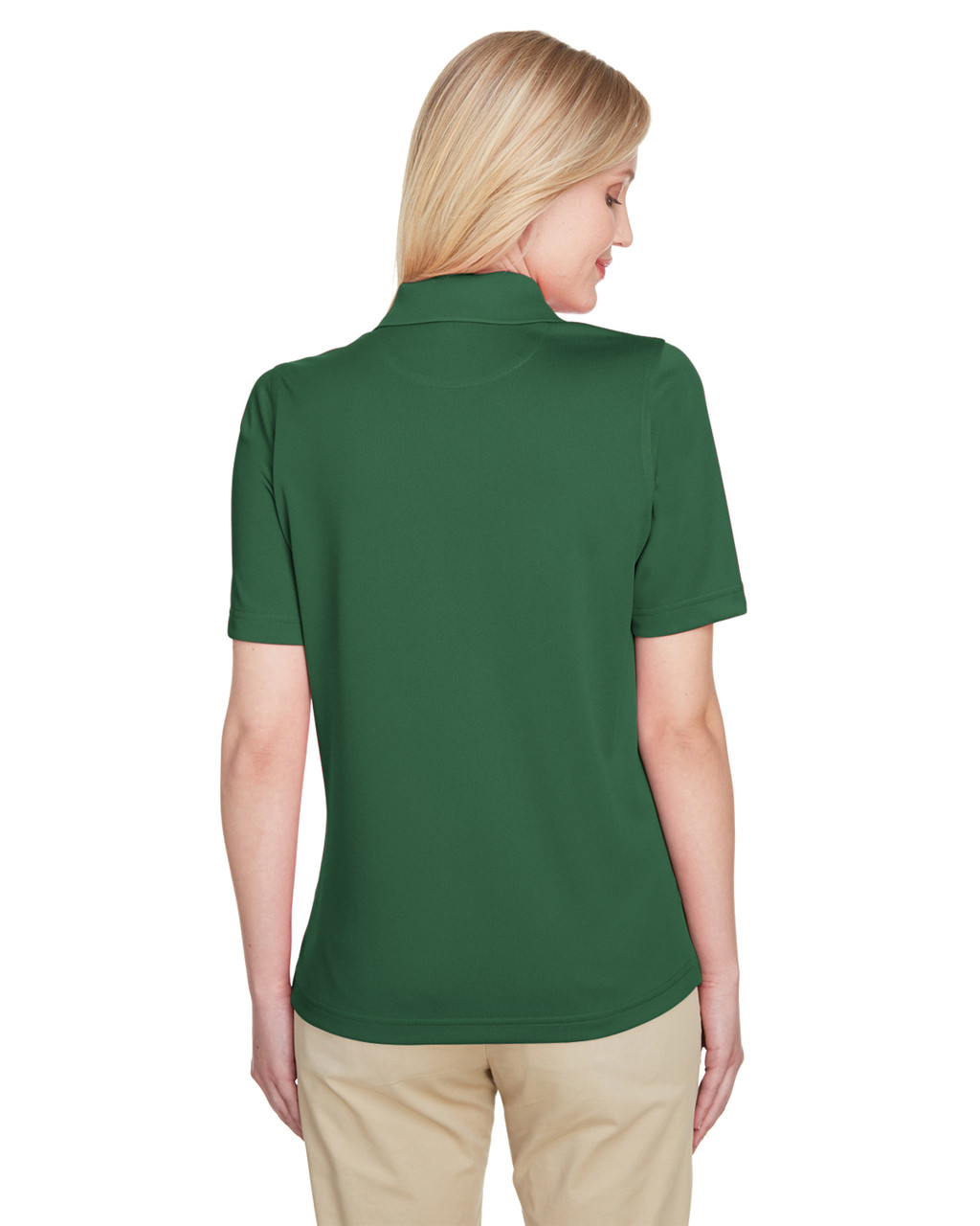 Dark Green, Back - M348W Harriton Ladies' Advantage Snag Protection Plus IL Polo Shirt | Blankclothing.ca