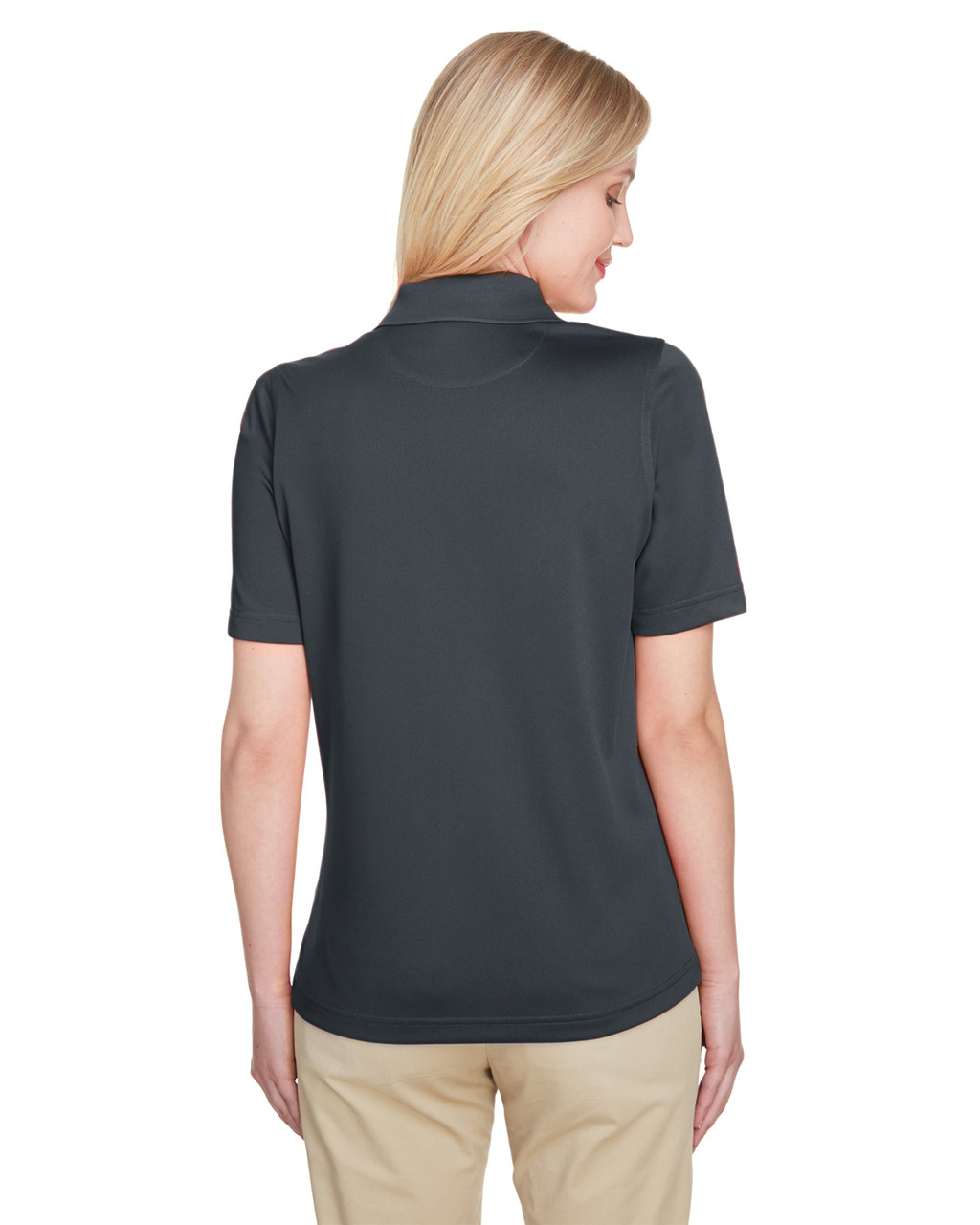 Dark Charcoal, Back - M348W Harriton Ladies' Advantage Snag Protection Plus IL Polo Shirt | Blankclothing.ca