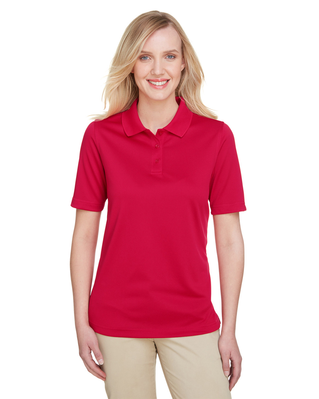 Red - M348W Harriton Ladies' Advantage Snag Protection Plus IL Polo Shirt | Blankclothing.ca