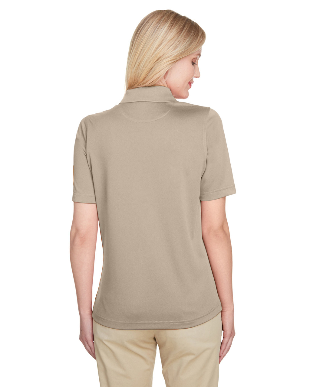 Khaki, Back - M348W Harriton Ladies' Advantage Snag Protection Plus IL Polo Shirt | Blankclothing.ca