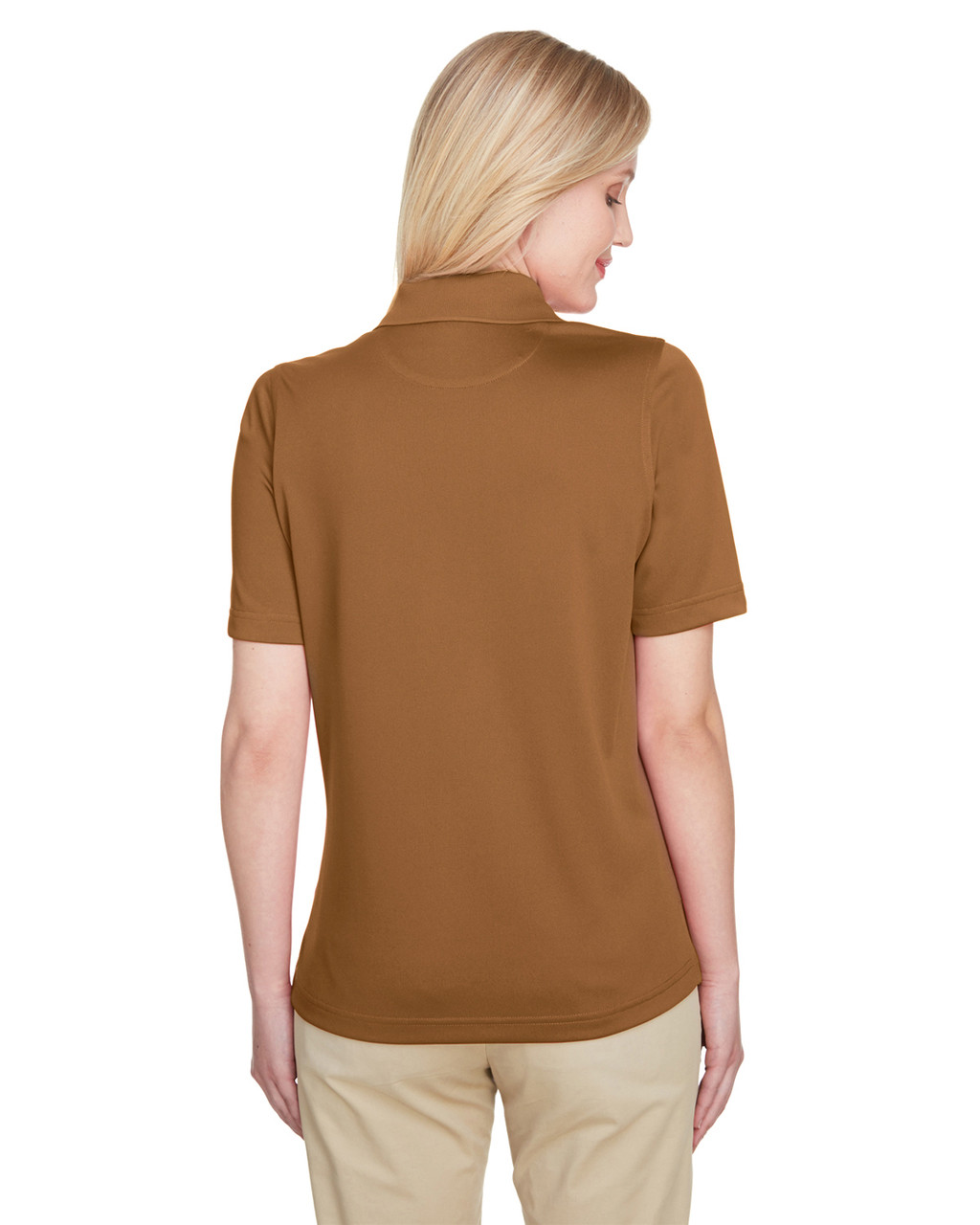 Duck Brown, Back - M348W Harriton Ladies' Advantage Snag Protection Plus IL Polo Shirt | Blankclothing.ca