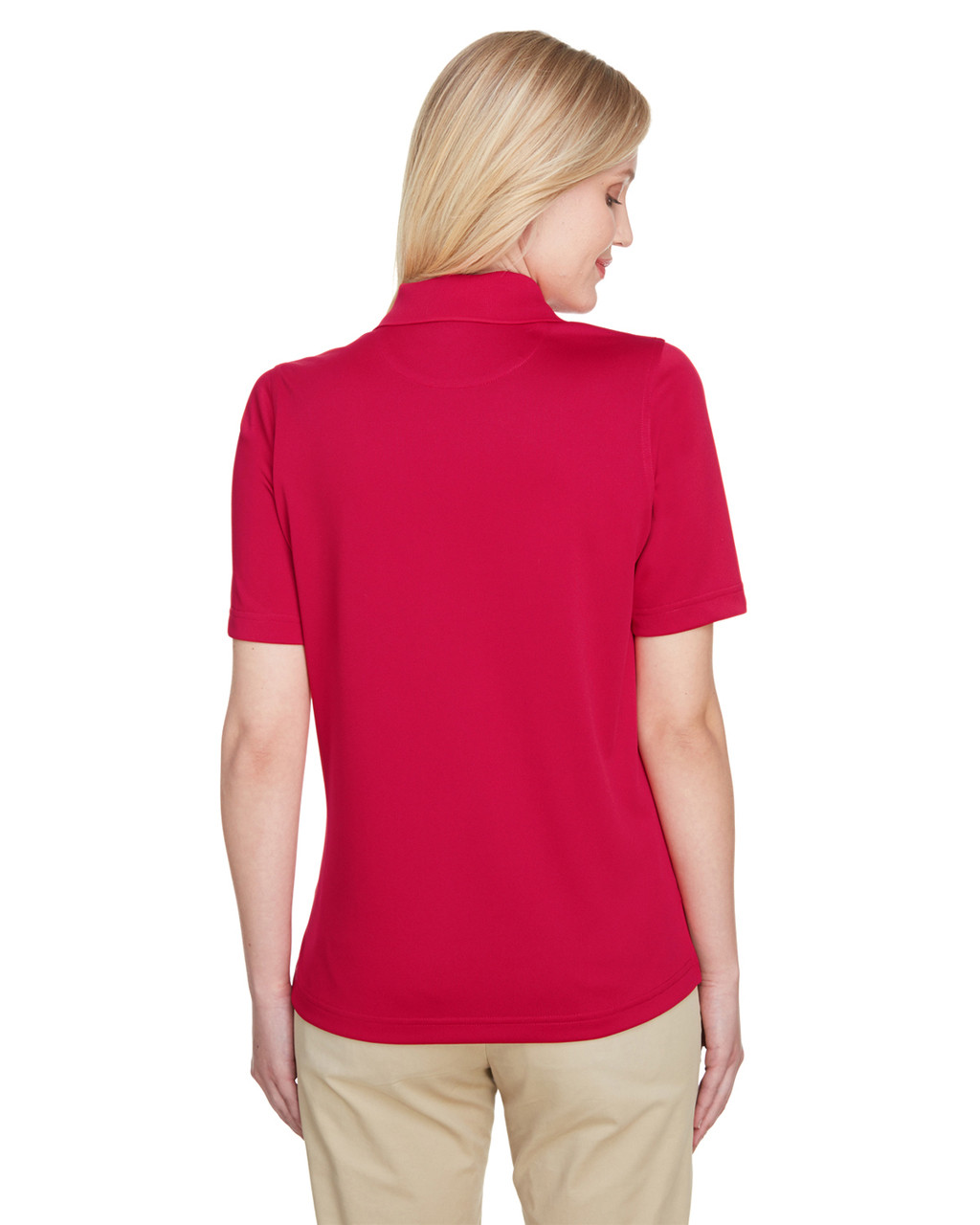 Red, Back - M348W Harriton Ladies' Advantage Snag Protection Plus IL Polo Shirt | Blankclothing.ca
