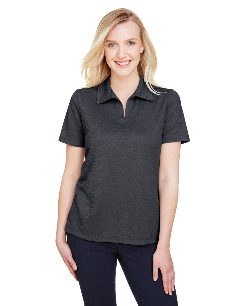 Black Heather - DG22W Devon & Jones Ladies' CrownLux Performance™ Address Mélange Polo Shirt | BlankClothing.ca
