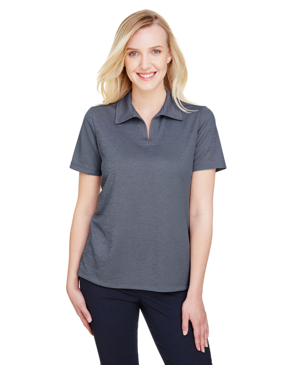 Navy Heather - DG22W Devon & Jones Ladies' CrownLux Performance™ Address Mélange Polo Shirt | BlankClothing.ca