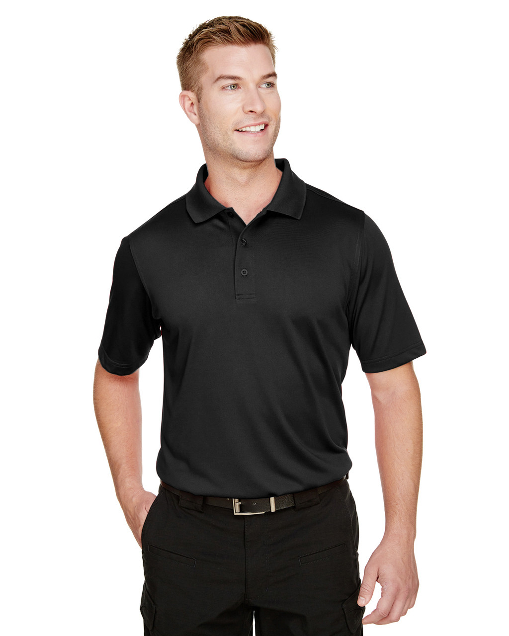 Black - M348 Harriton Men's Advantage Snag Protection Plus IL Polo Shirt | BlankClothing.ca