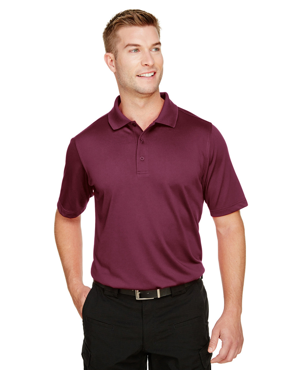 Maroon - M348 Harriton Men's Advantage Snag Protection Plus IL Polo Shirt | BlankClothing.ca