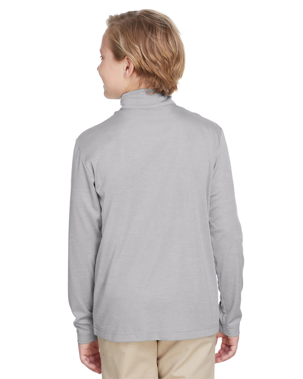 Athletic Heather, Back - TT31HY Team 365 Youth Zone Sonic Heather Performance Quarter-Zip Athletic Shirt | BlankClothing.ca