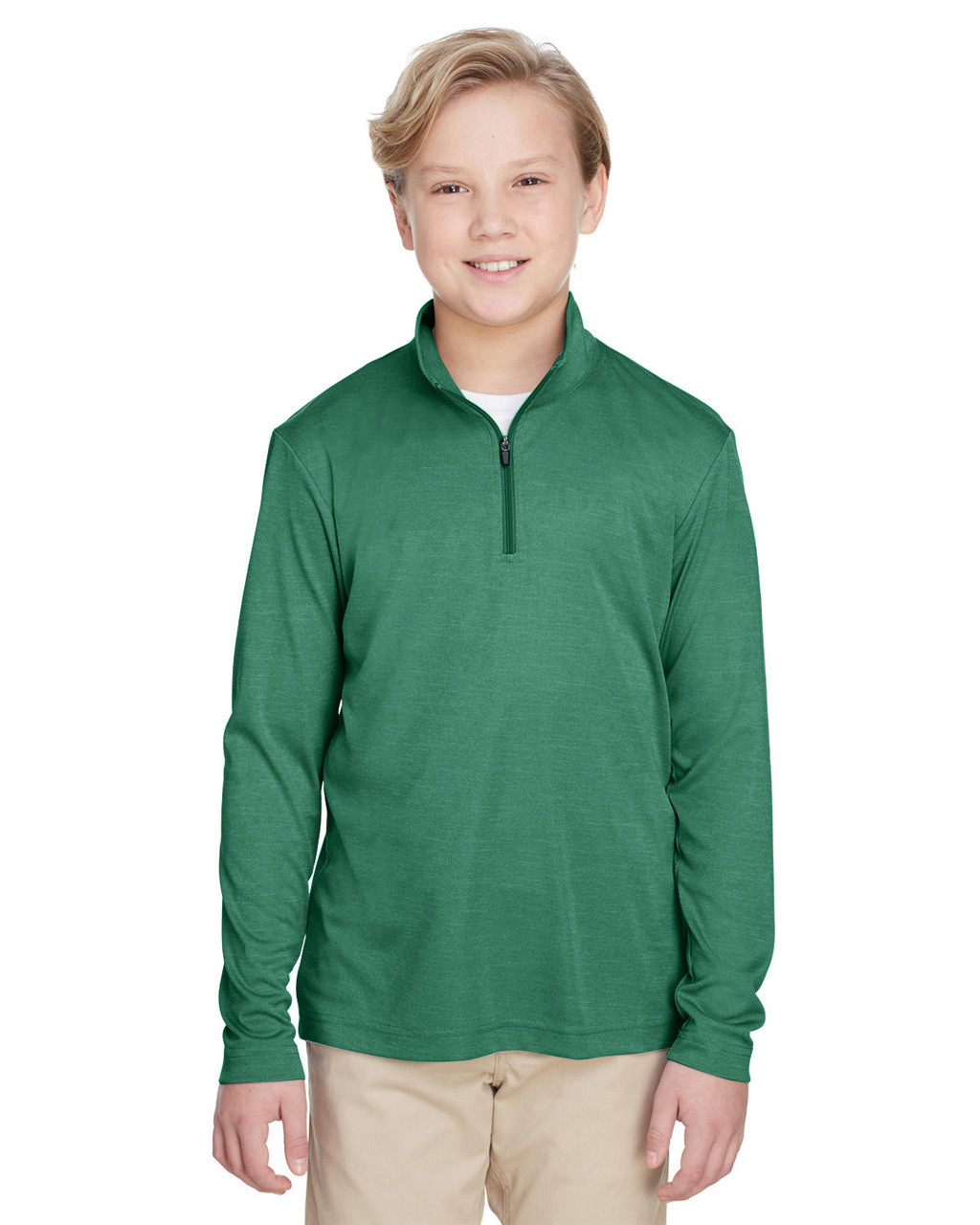 Sport Forest Heather - TT31HY Team 365 Youth Zone Sonic Heather Performance Quarter-Zip Athletic Shirt | BlankClothing.ca