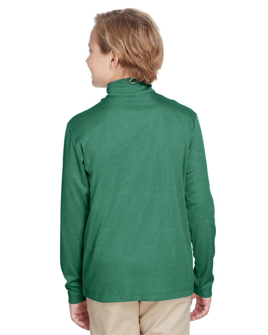 Sport Forest Heather, Back - TT31HY Team 365 Youth Zone Sonic Heather Performance Quarter-Zip Athletic Shirt | BlankClothing.ca