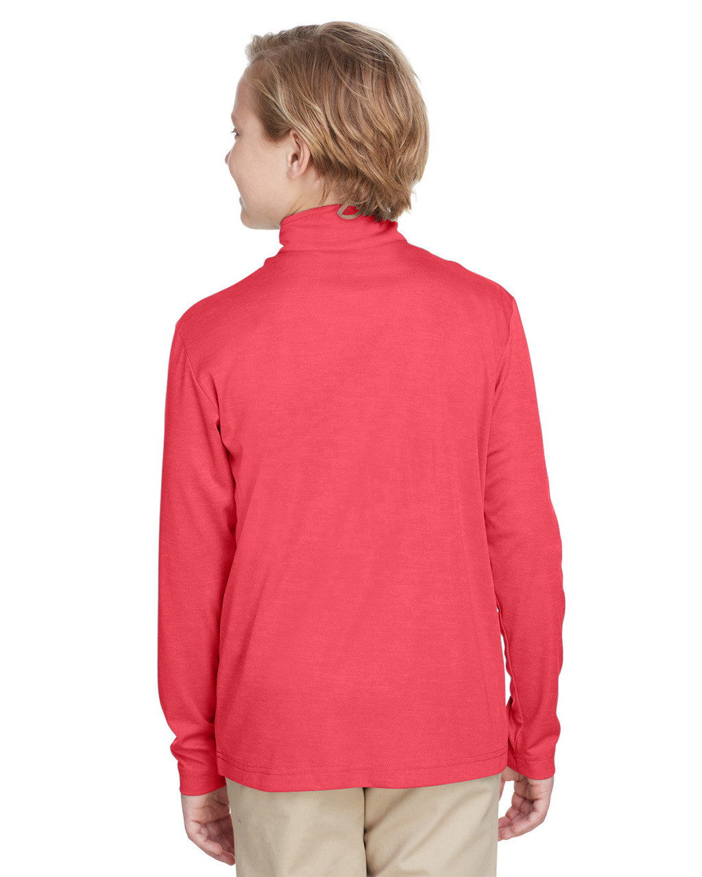 Sport Red Heather , Back - TT31HY Team 365 Youth Zone Sonic Heather Performance Quarter-Zip Athletic Shirt | BlankClothing.ca