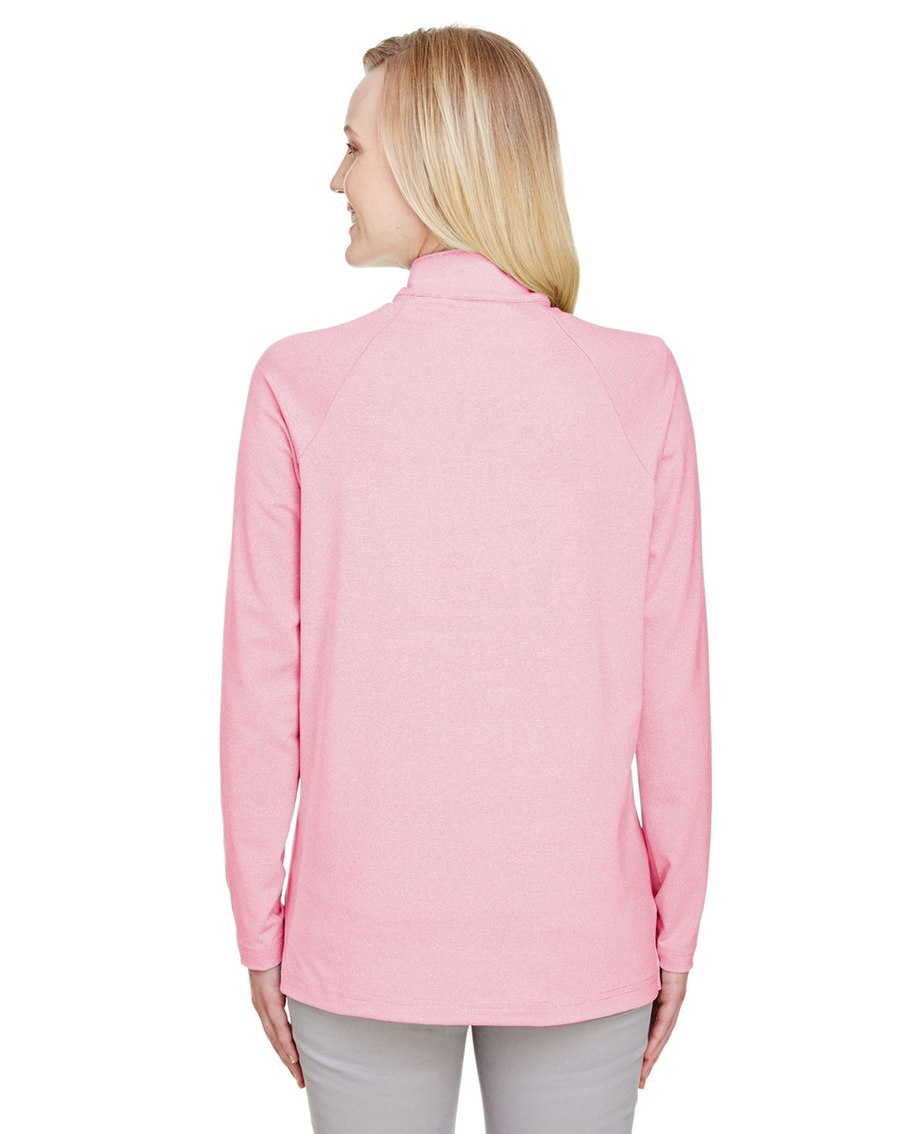 Red, Back - DG480W Devon & Jones Ladies' CrownLux Performance™ Clubhouse Micro-Stripe Quarter-Zip Active Shirt | BlankClothing.ca