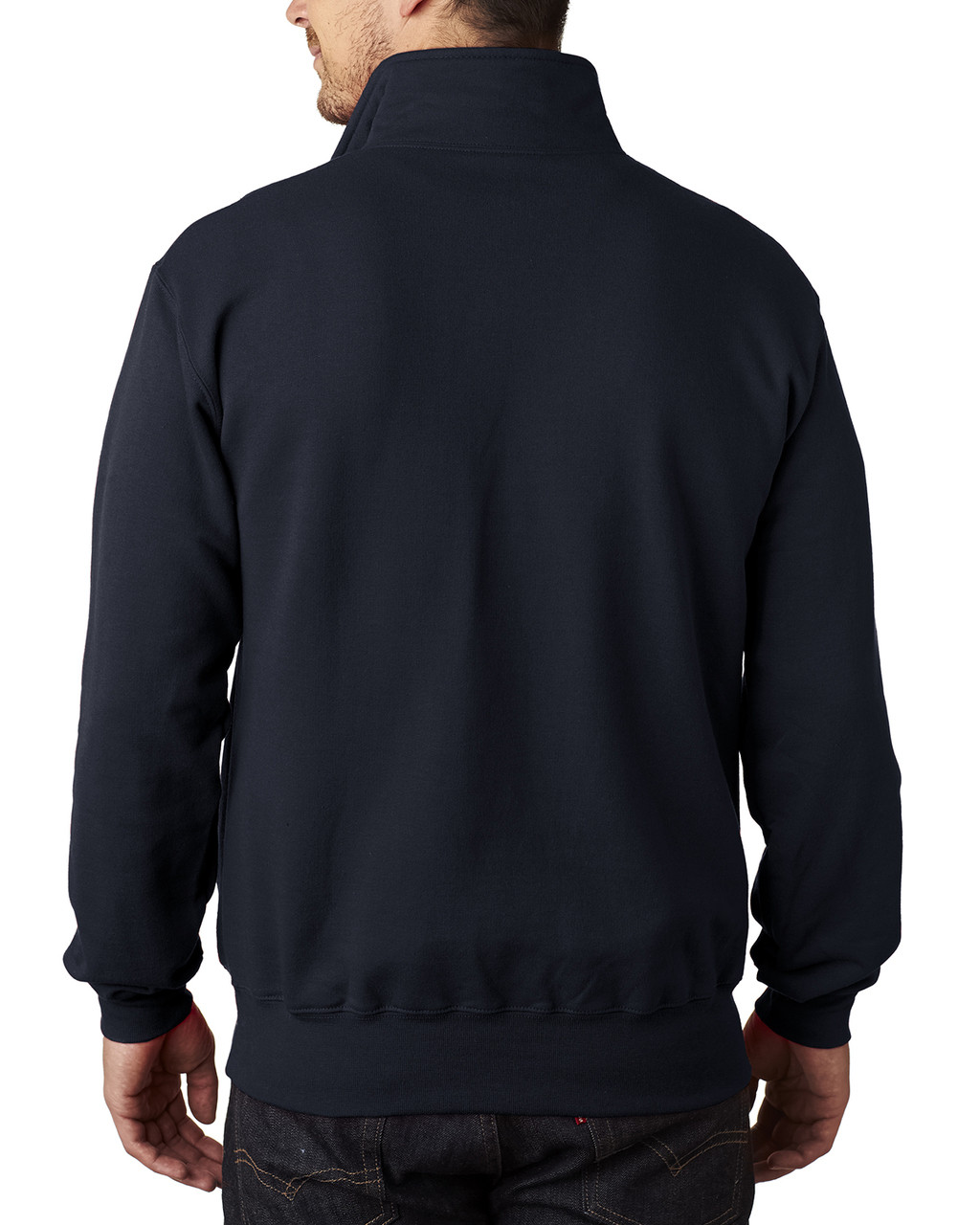 Navy, Back - S400 Champion 12 oz./lin. yd. Double Dry Eco® Quarter-Zip Pullover  | BlankClothing.ca