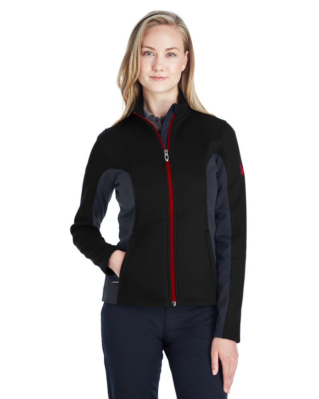 Black/Polar/Red - 187335 Spyder Ladies' Constant Full-Zip Sweater | BlankClothing.ca