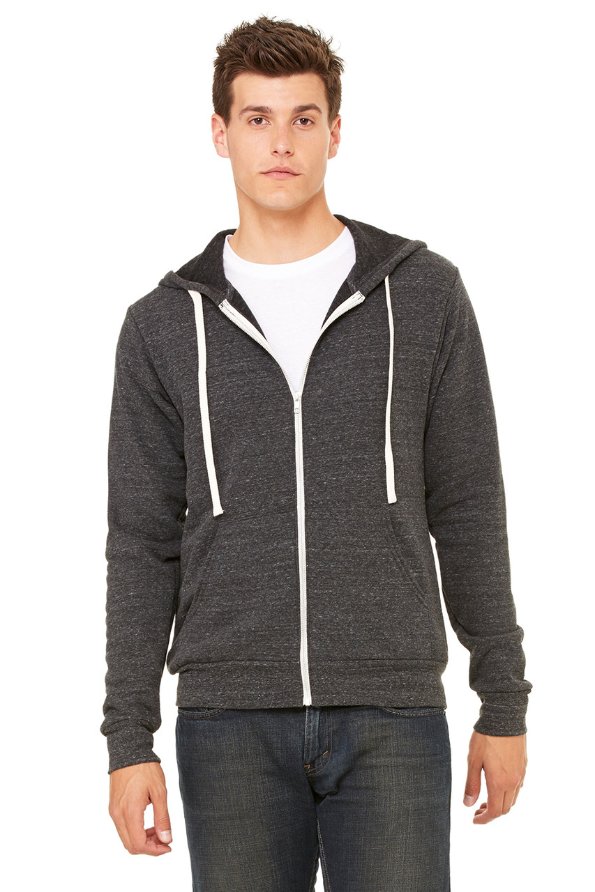 Charcoal Black Triblend - 3909 Bella + Canvas Unisex Triblend Sponge Fleece Full-Zip Hoodie  | BlankClothing.ca