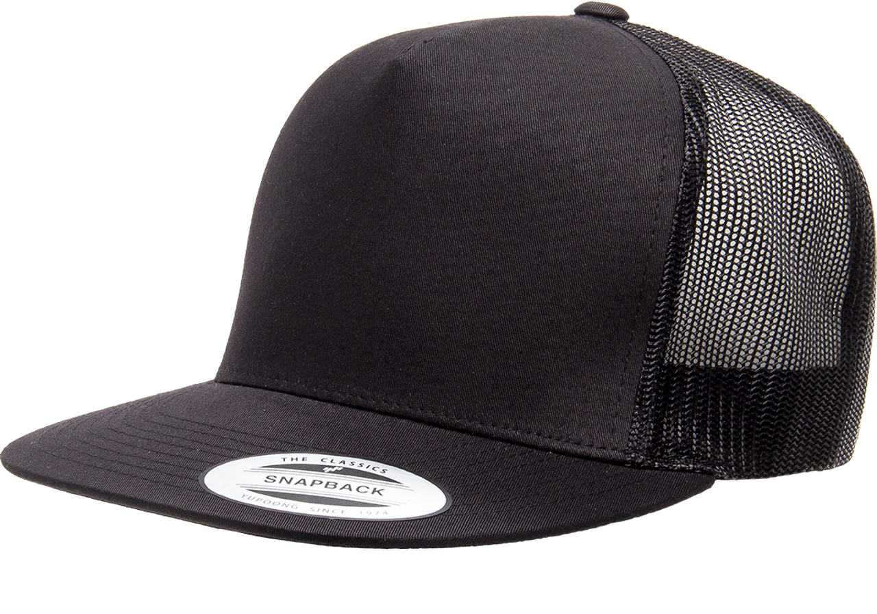 Black - 6006 Yupoong Adult 5-Panel Trucker Cap | BlankClothing.ca