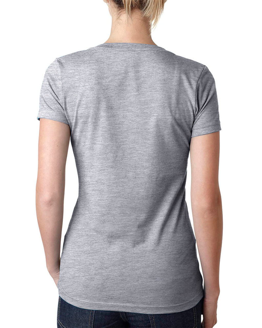 Dark Heather Grey - 6640 Next Level Ladies' CVC Deep V-Neck T-shirt  | BlankClothing.ca