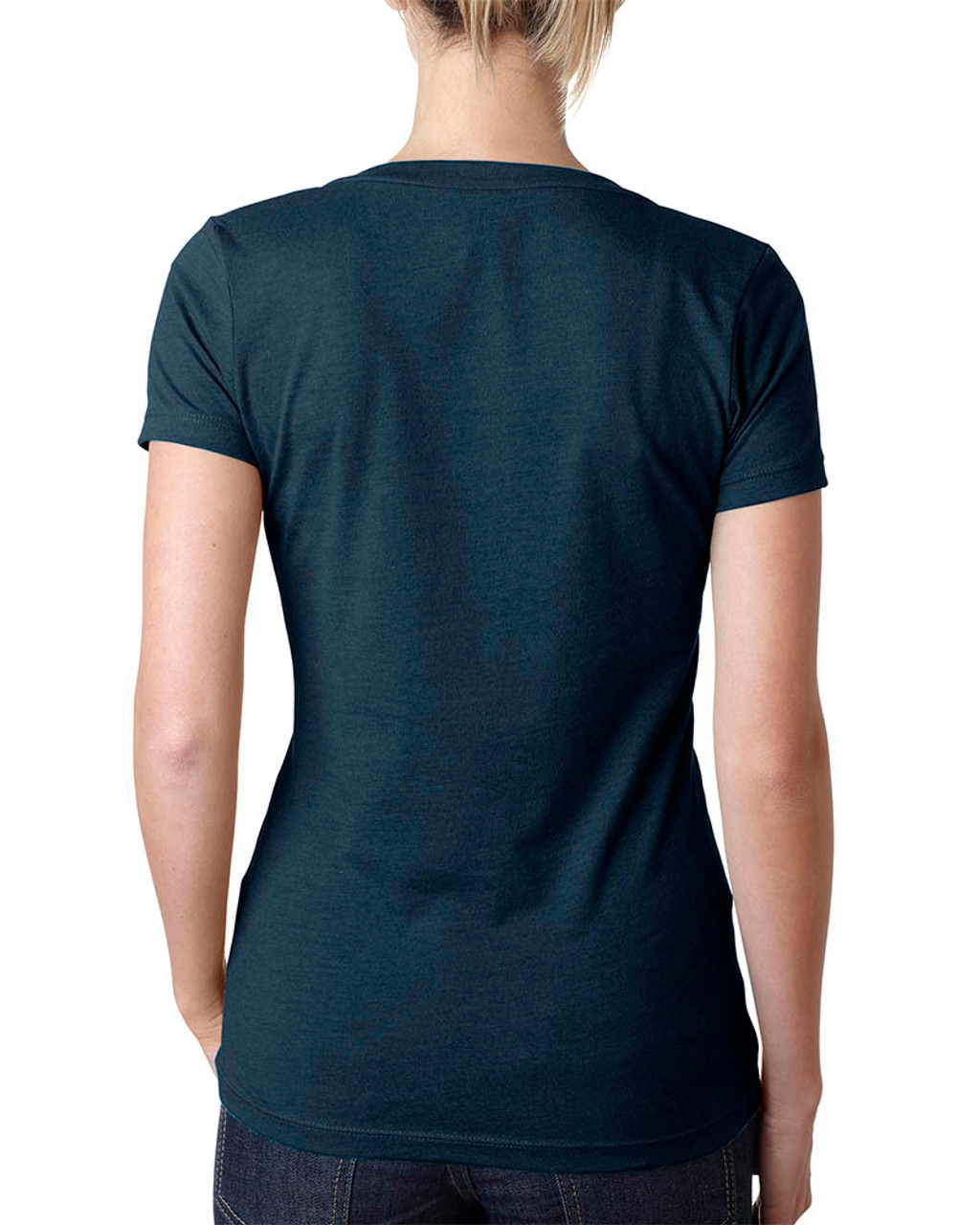 Midnight Navy - 6640 Next Level Ladies' CVC Deep V-Neck T-shirt  | BlankClothing.ca