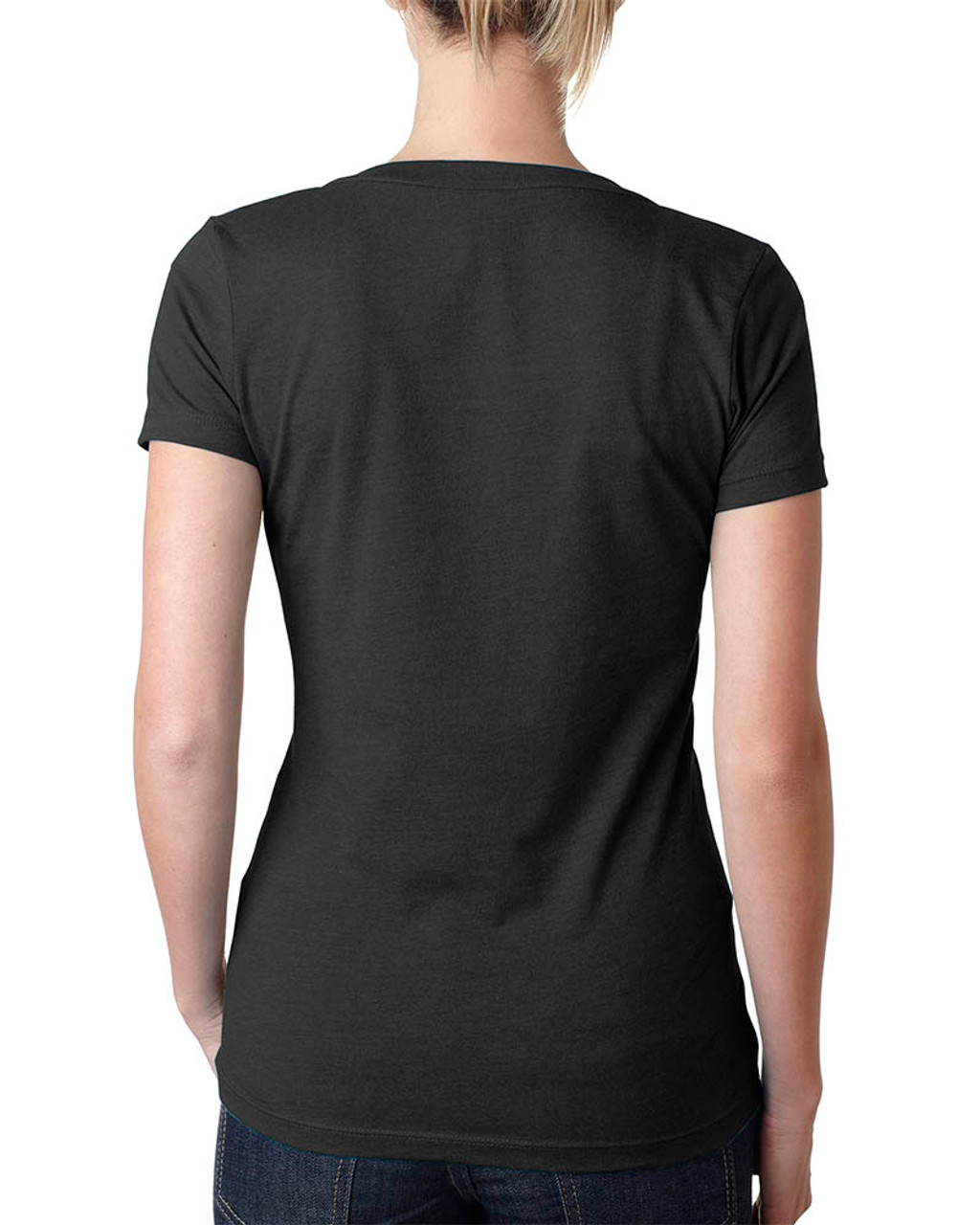 Black - 6640 Next Level Ladies' CVC Deep V-Neck T-shirt  | BlankClothing.ca
