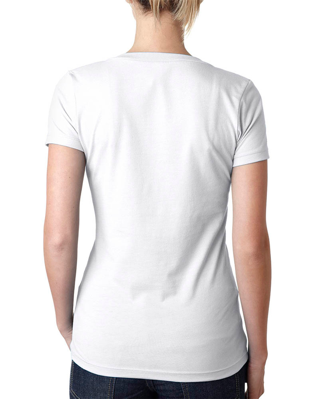 White - 6640 Next Level Ladies' CVC Deep V-Neck T-shirt  | BlankClothing.ca
