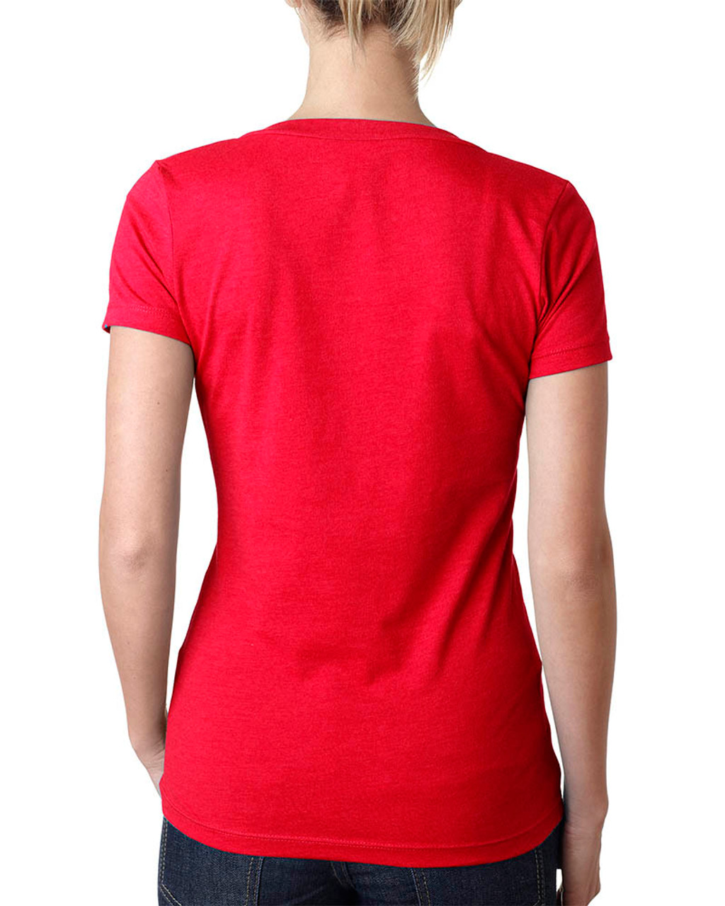 Red - 6640 Next Level Ladies' CVC Deep V-Neck T-shirt  | BlankClothing.ca