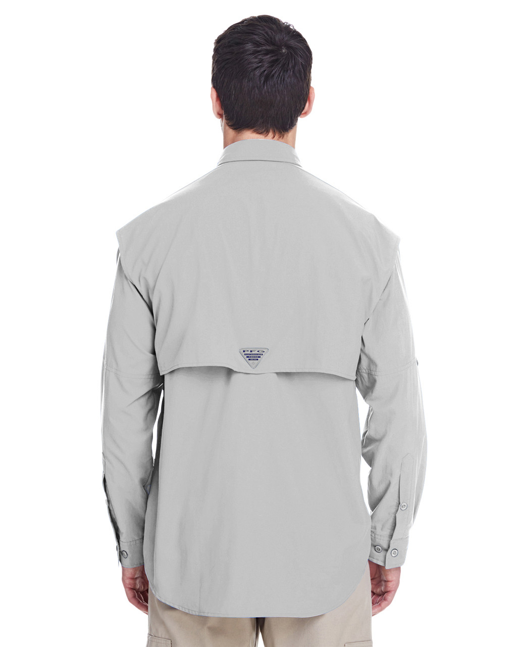 Cool Grey, Back -  7048 Columbia Men's Bahama™ II Long-Sleeve Shirt | BlankCLothing.ca